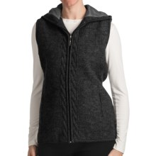 Country Fashion by Venario Hooded Vest - Boiled Wool, Full Zip (For Women) in Dark Grey - Closeouts