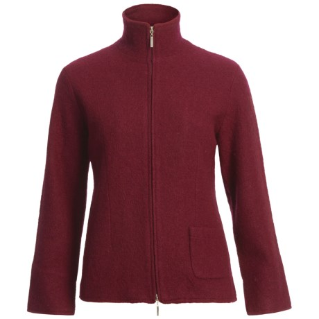 Country Fashion by Venario Linda Jacket - Boiled Wool, Full Zip (For Women) in Brown