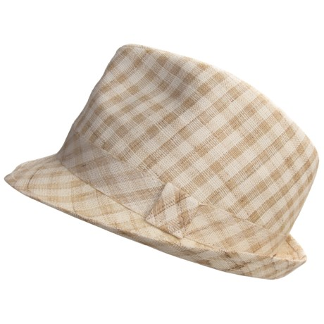 Country Gentleman Remy Fedora Hat - Linen (For Men) in Beige Check