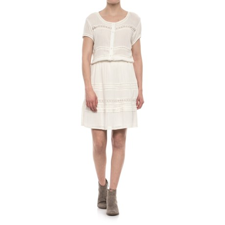 Coupe Collection Crinkle Texture Dress - Short Sleeve (For Women) in Offwhite