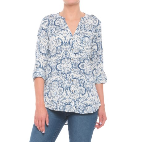 Coupe Collection Printed Roll-Tab Shirt - Long Sleeve (For Women) in Indigo