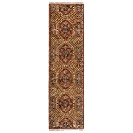 "Couristan Jangali Collection Floor Runner - 2'3""x8'3"", Hand Knotted Wool in Antique Meshad Mocha/Rust - Closeouts"