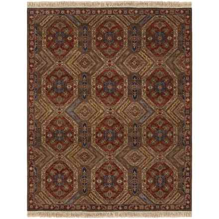 Couristan Jangali Collection Wool Accent Rug - 2x4', Hand Knotted in Antique Meshad Mocha/Rust - Closeouts