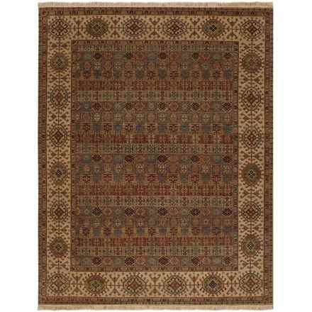 Couristan Jangali Collection Wool Accent Rug - 2x4', Hand Knotted in Arabesque Tile Multi Cream - Closeouts