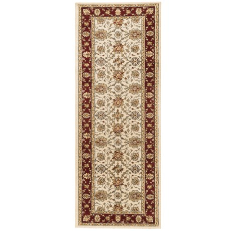 """Couristan Traditions Floor Runner - 2'7x7'10"""" in Halle Ivory/Ruby"""