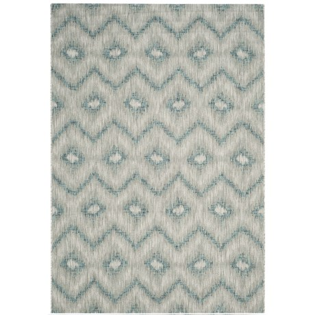 Image of Courtyard Collection Geo Print Indoor/Outdoor Area Rug - 5?3?x7?7? Grey-Blue