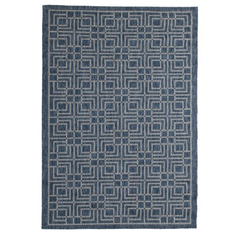 Image of Courtyard Collection Geo Print Indoor/Outdoor Area Rug - 5?3?x7?7? Navy-Grey