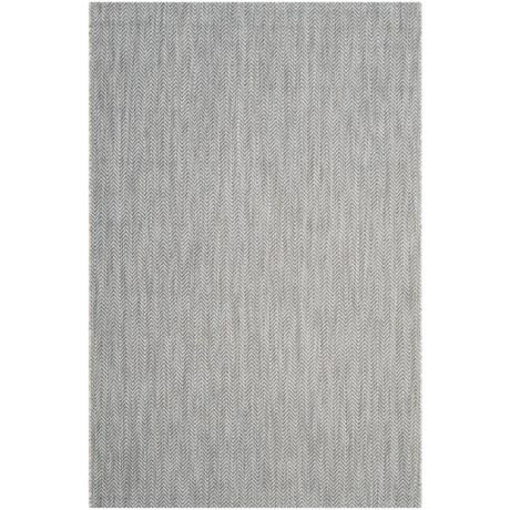 Image of Courtyard Collection Herringbone Indoor/Outdoor Area Rug - 5?3?x7?7? Grey-Navy