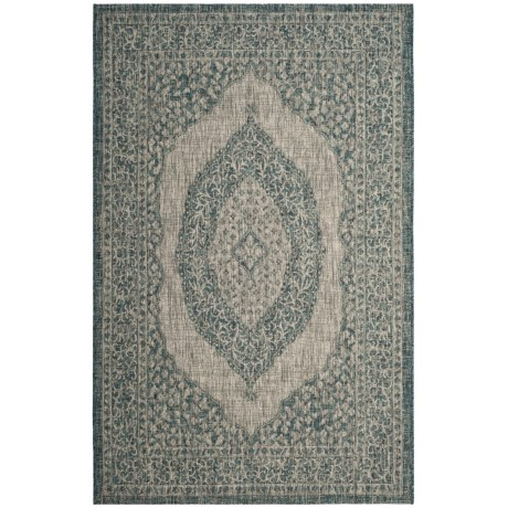 Image of Courtyard Collection Medallion Indoor/Outdoor Area Rug - 5?3?x7?7? Light Grey-Teal