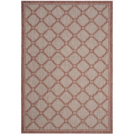 Image of Courtyard Collection Medallion Indoor/Outdoor Area Rug - 5?3?x7?7? Red-Beige