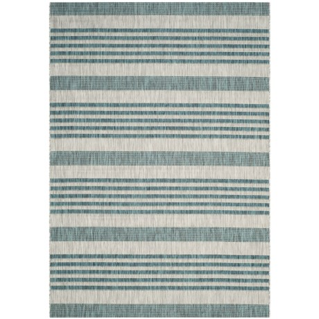 Image of Courtyard Collection Striped Indoor/Outdoor Area Rug - 5?3?x7?7? Grey-Blue