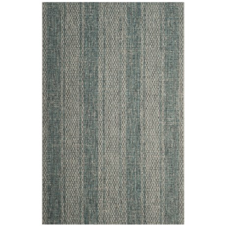 Image of Courtyard Collection Striped Indoor/Outdoor Area Rug - 5?3?x7?7? Light Grey-Teal