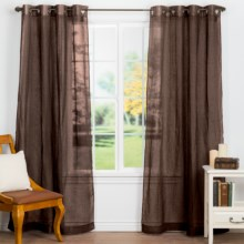 "Couture Belgium Sheer Linen Curtains - 100x84"", Grommet Top in Chocolate - Closeouts"