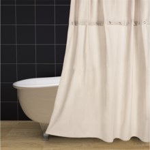 "Couture by Commonwealth Chandler Cotton Duct and Waffle Shower Curtain - 70x72"" in Ivory - Closeouts"