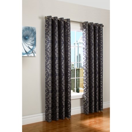 "Couture Ikata Curtains - 100x84"", Grommet-Top in Mauve"