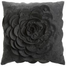 """Couture Petals Decorative Pillow - Felt, 18x18"""" in Grey - Closeouts"""