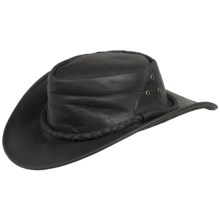 Cov-Ver Oiled Leather Outback Hat - UPF 50+ (For Men and Women) in Black - Closeouts