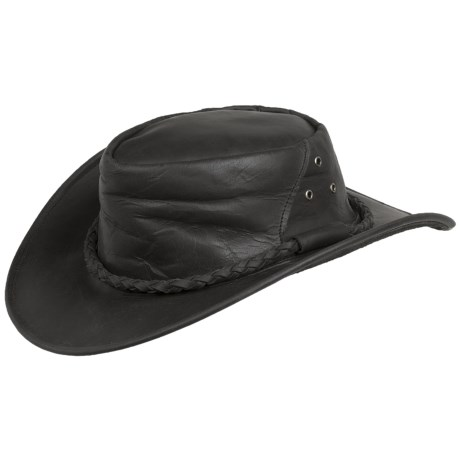 Cov-Ver Oiled Leather Outback Hat - UPF 50+ (For Men and Women) in Black