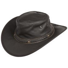 Cov-Ver Soft Leather Outback Hat - UPF 50+, Crushable (For Men and Women) in Brown - Closeouts