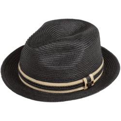 Cov-Ver Straw Braid Fedora Hat (For Men and Women) in Black