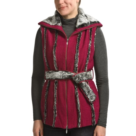 CoVelo Amelia Boiled Wool Vest - Faux-Fur Trim (For Women) in Rasperry