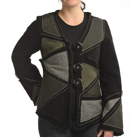 CoVelo Melange Patchwork Jacket - Boiled Wool (For Women) in Black/Olive