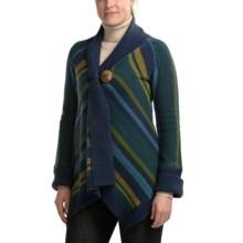 CoVelo Striped Asymmetric Cardigan Sweater (For Women) in Teal/Green - Closeouts