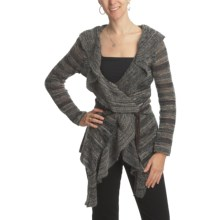 CoVelo Striped Ruffled Cardigan Sweater (For Women) in Ash - Closeouts
