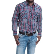 Cowboy Up Cotton Vintage Plaid Shirt - Snap Front, Long Sleeve (For Men) in Blue/Red - Closeouts
