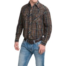 Cowboy Up Cotton Vintage Plaid Shirt - Snap Front, Long Sleeve (For Men) in Brown/Turquoise - Closeouts