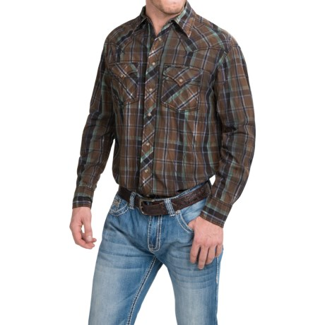 Cowboy Up Cotton Vintage Plaid Shirt Snap Front, Long Sleeve (For Men)
