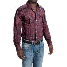 Cowboy Up Cotton Vintage Plaid Shirt - Snap Front, Long Sleeve (For Men) in Red Multi - Closeouts