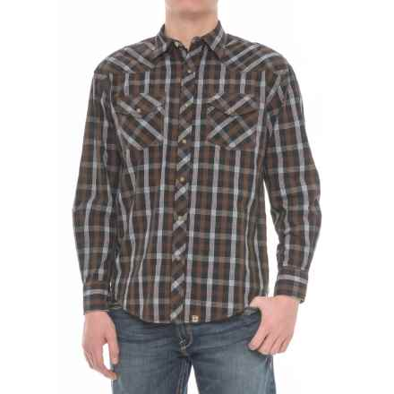 Cowboy Up Plaid Snap Shirt - Long Sleeve (For Men) in Black/White/Brown - Overstock