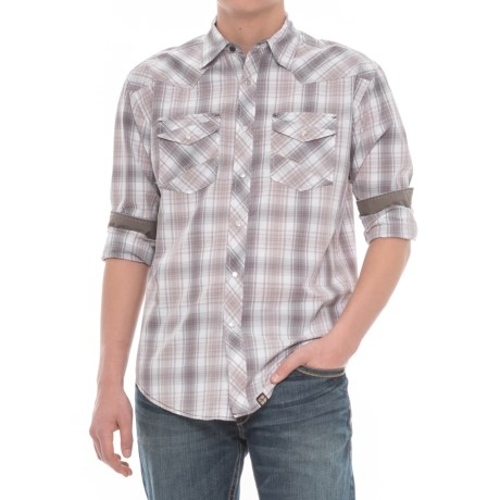 Cowboy Up Plaid Western Shirt - Snap Front, Long Sleeve (For Men) in White/Grey