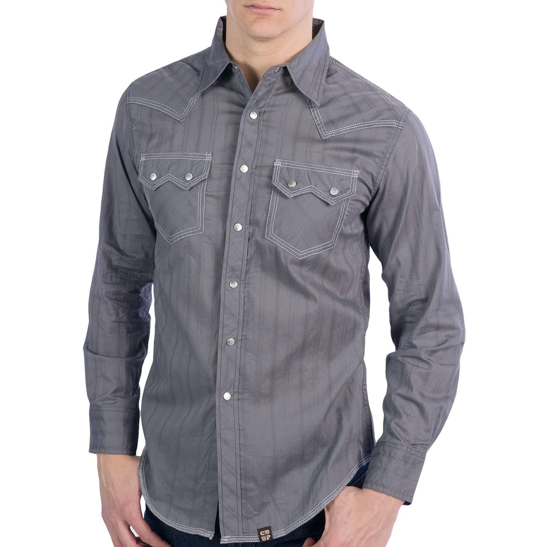 Cowboy Up Tonal Stripe Shirt Snap Front Long Sleeve
