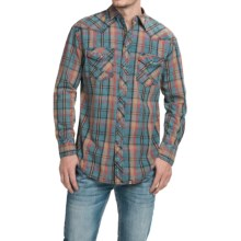 Cowboy Up Washed-Cotton Plaid Shirt - Snap Front, Long Sleeve (For Men) in Blue/Orange - Closeouts