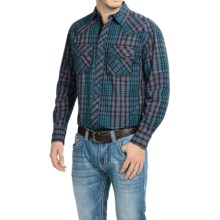 Cowboy Up Washed-Cotton Plaid Shirt - Snap Front, Long Sleeve (For Men) in Blue - Closeouts