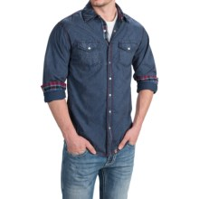Cowboy Up Washed-Cotton Solid Shirt - Snap Front, Long Sleeve (For Men) in Blue - Closeouts