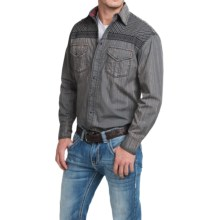 Cowboy Up Washed Cotton Solid Shirt - Snap Front, Long Sleeve (For Men) in Grey - Closeouts