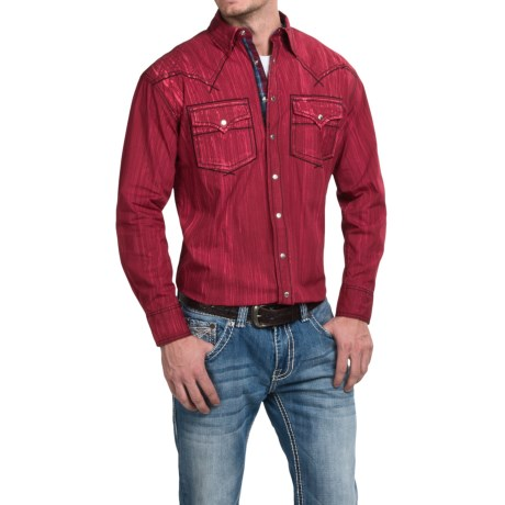 Cowboy Up Washed Cotton Solid Shirt Snap Front, Long Sleeve (For Men)