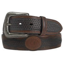 Cowboys of Faith Basket Weave Overlay Belt - Leather (For Men) in Brown - Closeouts