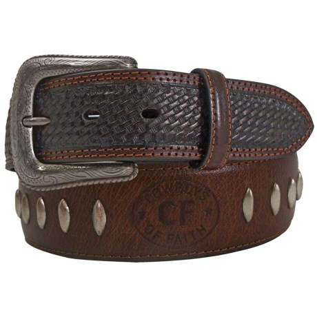 Cowboys of Faith Leather Belt (For Men) in Brown
