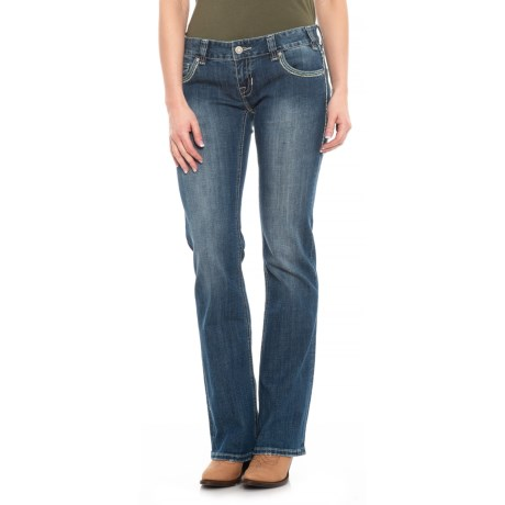 Image of Cowgirl Medium Vintage Wash Original Feather Jeans - Low Rise (For Women)
