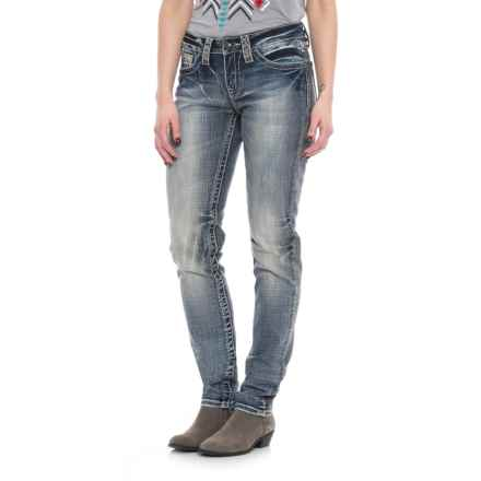 Cowgirl Up Adobe Style Skinny Jeans - Mid Rise  (For Women) in Medium Stonewash - Closeouts