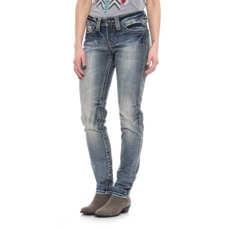 Cowgirl Up Adobe Style Skinny Jeans - Mid Rise  (For Women) in Medium Stonewash