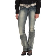 Cowgirl Up Bow and Arrow Jeans - Low Rise, Bootcut (For Women) in Light Stonewash - Closeouts