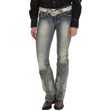 Cowgirl Up Bow and Arrow Jeans Low Rise, Bootcut (For Women)