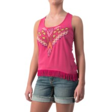 Cowgirl Up Fringed Chiffon Tank Top (For Women) in Hot Pink - Closeouts