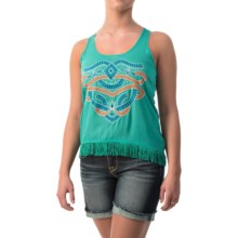 Cowgirl Up Fringed Chiffon Tank Top (For Women) in Sea Foam - Closeouts