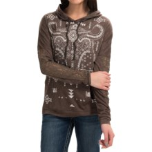 Cowgirl Up Lace Sleeve Hoodie (For Women) in Heathered Brown - Closeouts